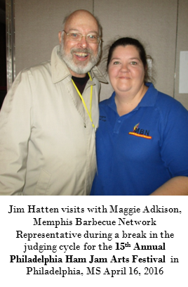 Jim Hatten with Memphis Barbecue Network Representative Maggie Adkison at the 15th Annual Philadelphia Ham Jam Arts Festival in Philadelphia, MS April 16, 2016