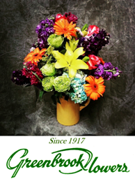 Greenbrook Flowers logo and website link in Jackson, MS