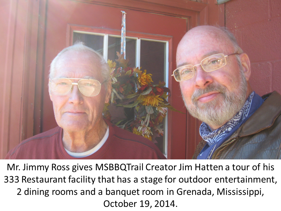 Photo of Jimmy Ross and James A. Hatten at 333 Restaurant on October 19, 2014 in Grenada, MS.