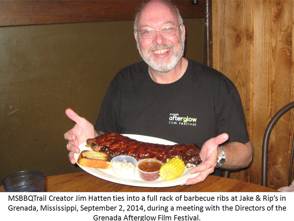 Photo of James A. Hatten at Jake & Rip's for barbecue ribs, September 2, 2014 in Grenada, MS.