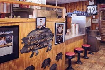 Abe's Bar-B-Q lunch counter in Clarksdale
