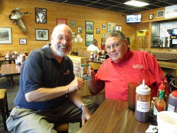 MSBBQTrail Founder Jim Hatten presents BBQ by Jim owner Jim Beane with his Certified Trail Stop emblem