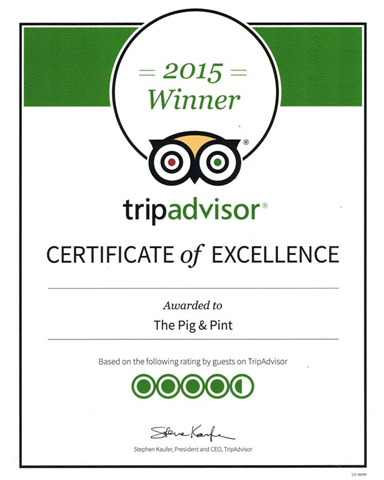 Certificate of Excellence from Trip Advisor to The Pig & Pint