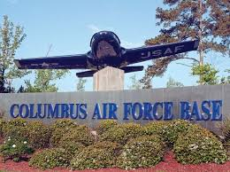 Display T-37 aircraft and sign at the main entrance to Columbus Air Force Base in Columbus, MS