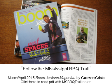 Link to pdf version of Follow the Mississippi BBQ Trail article by Carmen Cristo with MSBBQTrail notes