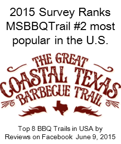 Link to survey by The Great Coastal Texas Barbecue Trail Top 8 BBQ Trails in USA by Reviews on Facebook, June 9, 2015