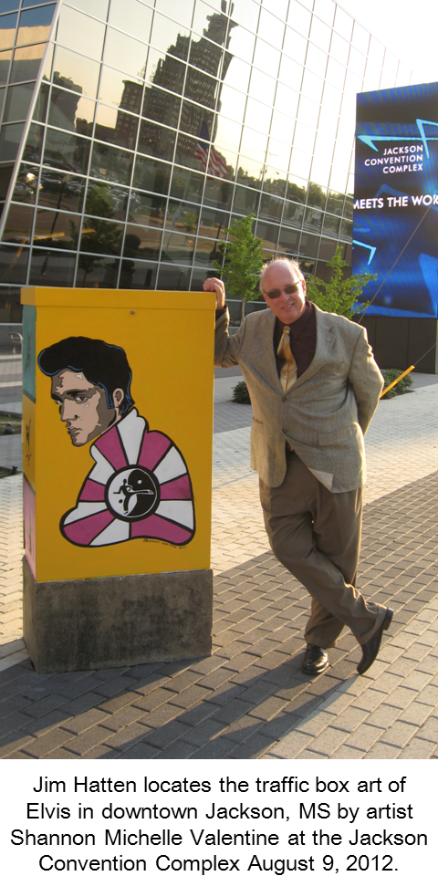 Photo of Jim Hatten with the traffic box art  of Elvis in downtown Jackson, MS by artist Shannon Michelle Valentine at the Jackson Convention Complex August 9, 2012.